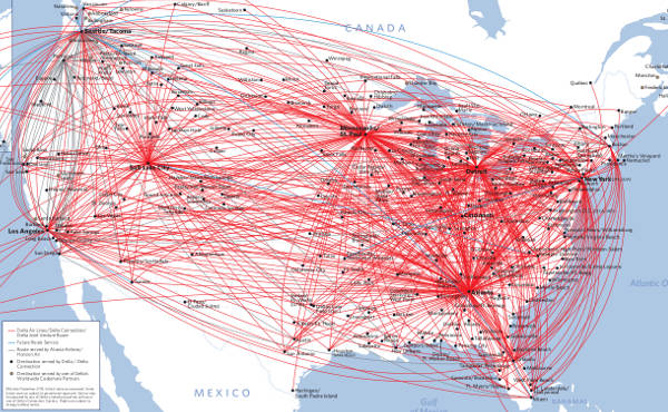 Delta Airlines US Flight Route Map